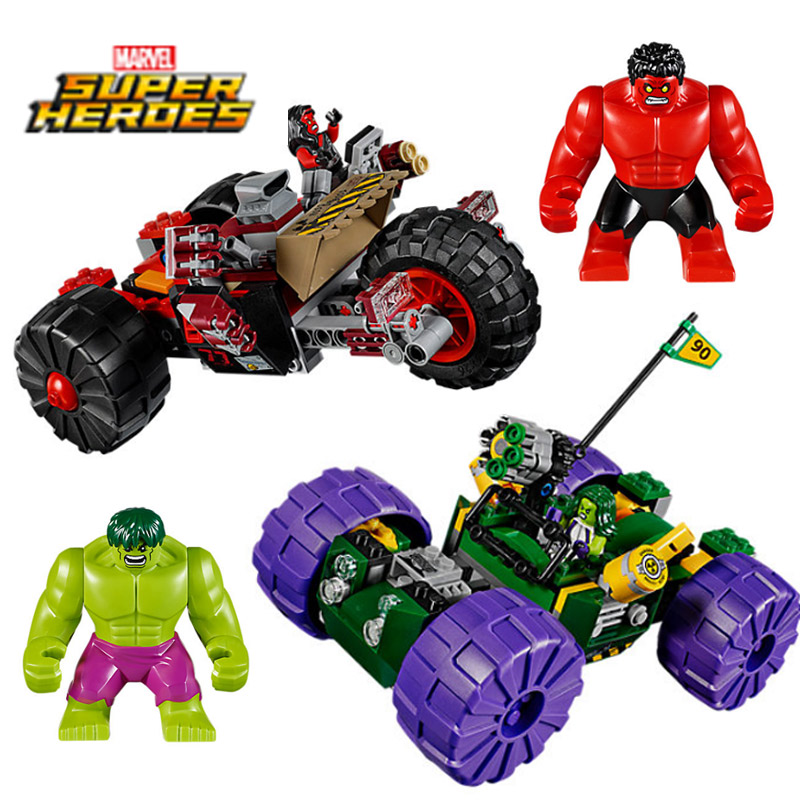 Decool 7125 Marvel Super Hero Super Hulk Red Green War Chariot Building Block Bricks Toys Compatible With Legoings Hulk 76078 hot compatible legoinglys batman marvel super hero movie series building blocks robin war chariot with figures brick toys gift