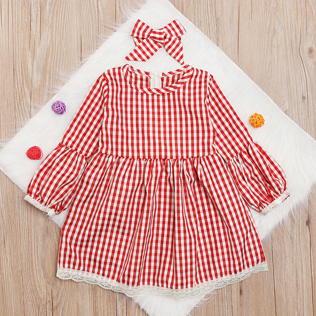 Christmas Mother daughter dresses Mom and me Women kids girl Cute checkerboard dress elegant Xmas party princess Dress C0390 4