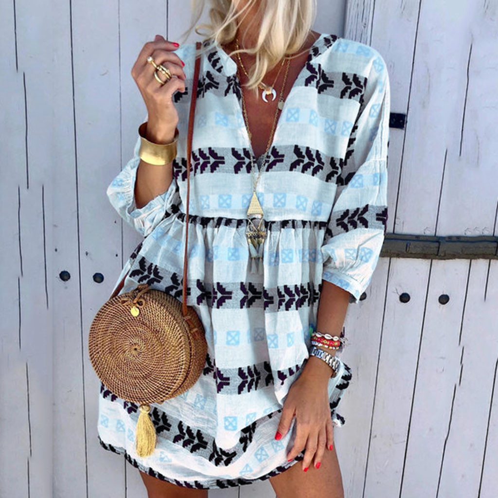 2019 Women boho Dress Half Sleeve Print V-Neck Party Mini Dress Elegant vestidos de festa Women Dresses ropa mujer NEW