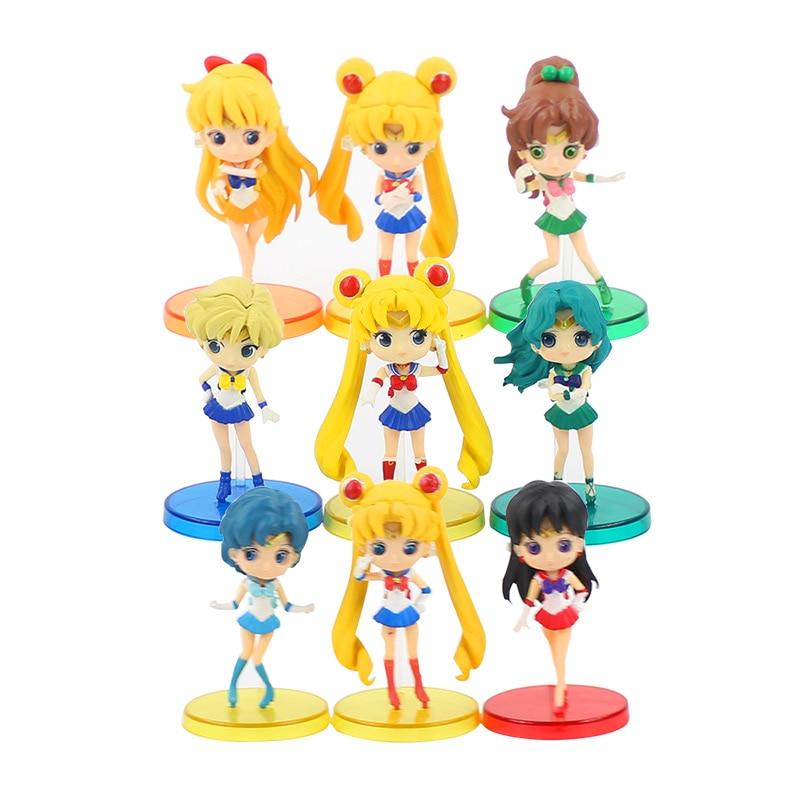 Great Q Posket Sailor Moon Tsukino Usagi / Sailor Ami / Sailor Mars Hino Rei PVC Action Figure Toy
