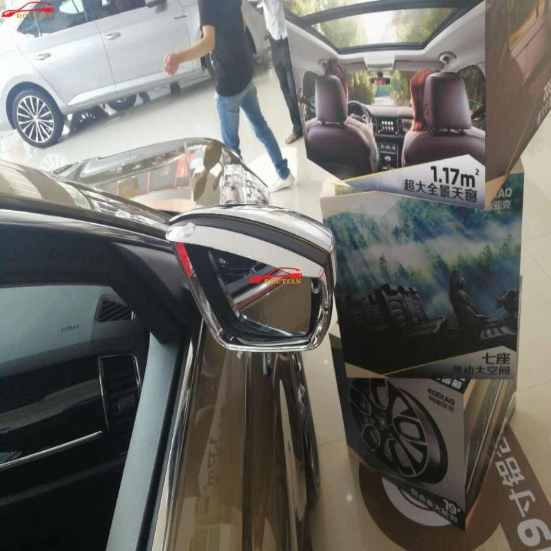 For Car Accessories  Styling Skoda Kodiaq 2017 2018 Abs Chrome Plastic Rearview Mirror Rain Eyebrow Shield Shade Blades Sticker 4pcs set window visor vent shade sun rain deflector guard shield for lexus nx nx200t nx300h 2015 car styling