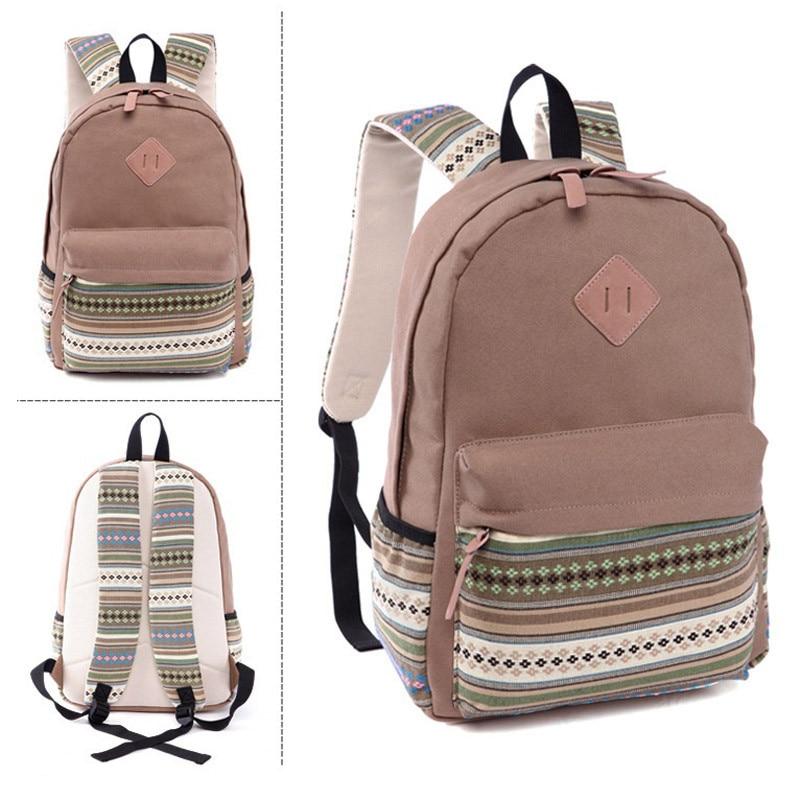 a4e216f25756d Mochila escolar mochila lona de las mujeres mochilas para niñas adolescente  mochila vendimia escuela bolsa de deporte mochila mochila coreana étnico  Para la ...