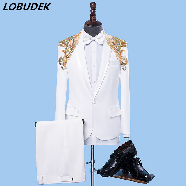 c91108b4fbb24 (jacket+pants) Formal male suit dresses Sequins Blazers set Teams Chorus  costume Host stage performance outfit singer Party show