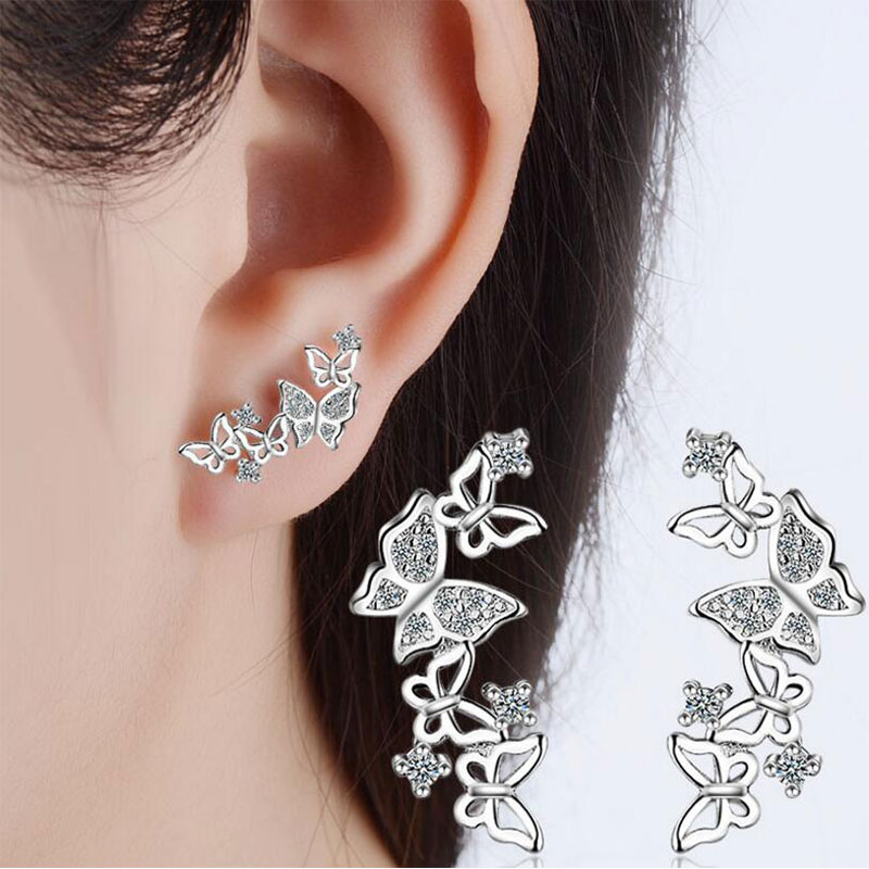 Anenjery 925 Sterling Silver Jewelry Hot Sale Korean Bow Tie Zircon Earrings For Women pendientes Oorbellen Brincos S-E355 ...