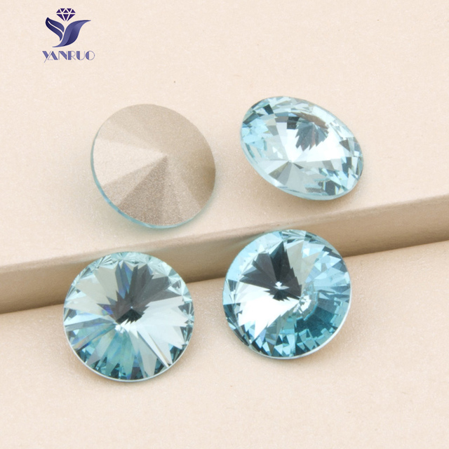 YANRUO 1122 Rivoli Aquamarine Glass Crystal No Claw Rhinestones Sew On  Stones For Jewelry Dress Carft 6 8 10 12 14 16 18 mm 13535f4d4e6c