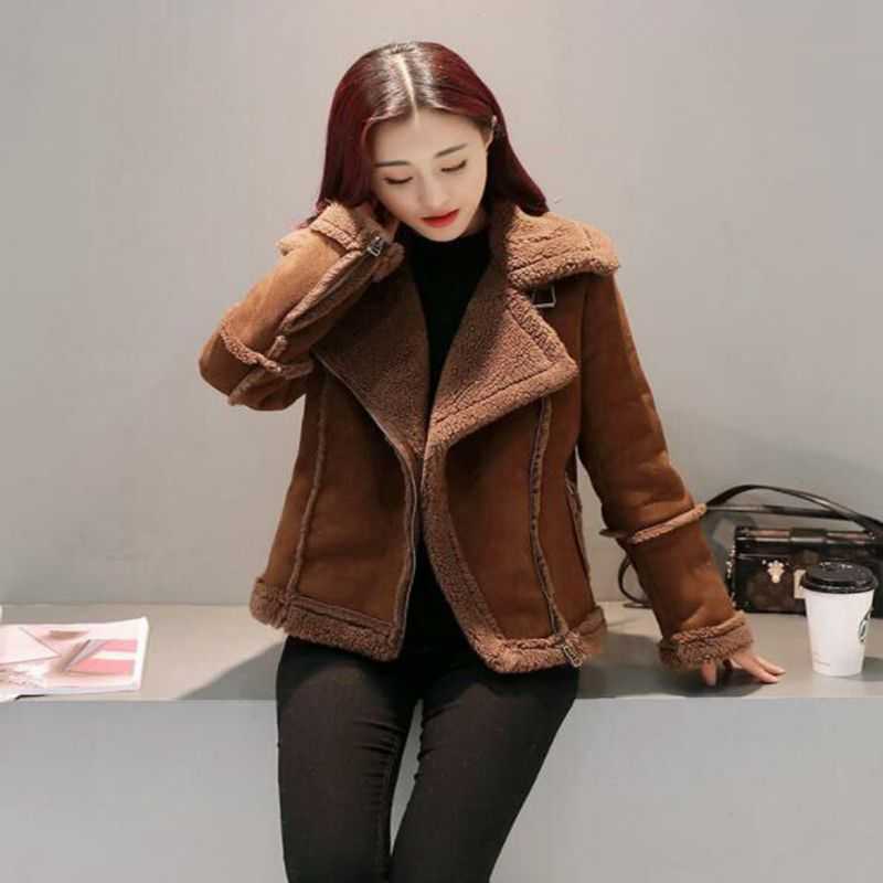 new Winter Jacket Women   Suede   Lamb Woolen Coat Biker Jacket Lapel Short Coats Female Fur Coat Thicker Outerwear Warm Coat