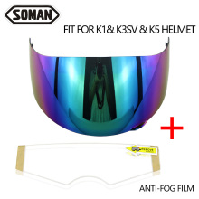 K5 K3SV K1 Helmet Visor With Anti-Fog Film Motorcycle Full Face Helmet Lens Mote Casco Shield Capacetes Accessories&Parts 100% original ls2 ff390 breaker motorcycle helmet chrome mirror lens smoke colorful silver visor with anti fog pinlock holes