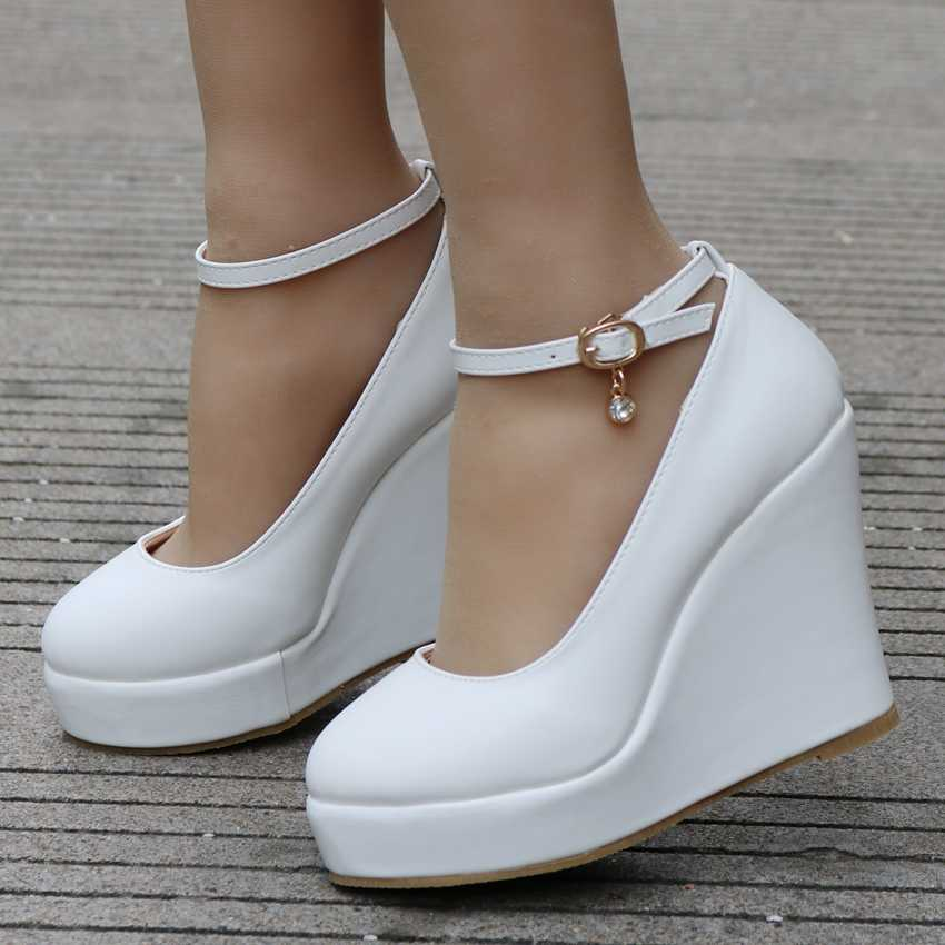 ... Crystal Queen White wedges shoes wedges pumps women platform high heels  round toe white high heels 9f8d01d1279f
