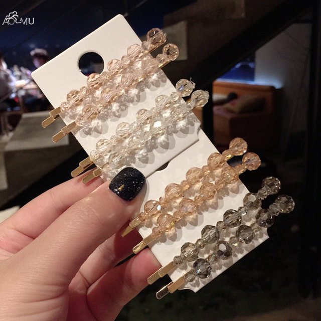 AOMU 1 шт. Корея Chic прозрачный кристалл зажимы для волос геометрический круглый шарик Шпильки Металл золото заколки для волос интимные аксессуары