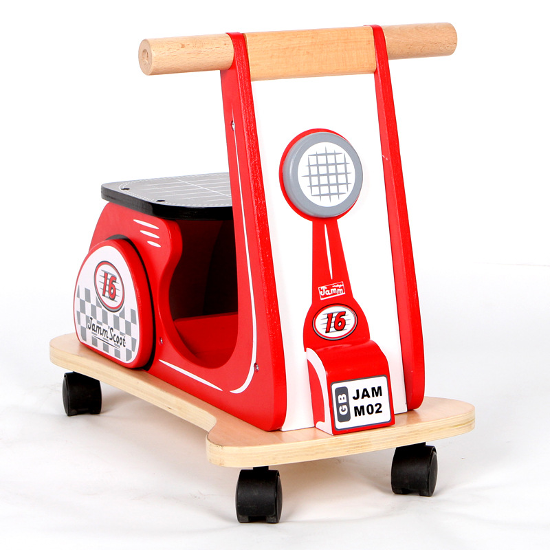 Kids Rushed Four Wood 2017 New Child Balance Baby Walkers Wooden Toys Children Can Sit Round The Cart Outdoor Sports Scooters aoxin new children s karting four wheel exercise can sit baby pneumatic tires exercise bike