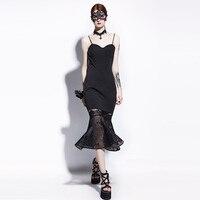 Sisjuly Gothic Mermaid Dress Black Mesh Women Summer Trumpet Goth Dresses Sexy Fashion Elegant Party Prom