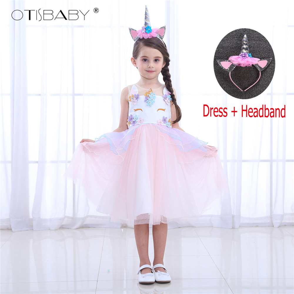 5d20f2afee6 Unicorn Party Princess Dress Birthday Girl Unicorn Dress My Little Girls  Pony Floral Fluffy Communion Dresses Kids Horse Clothes
