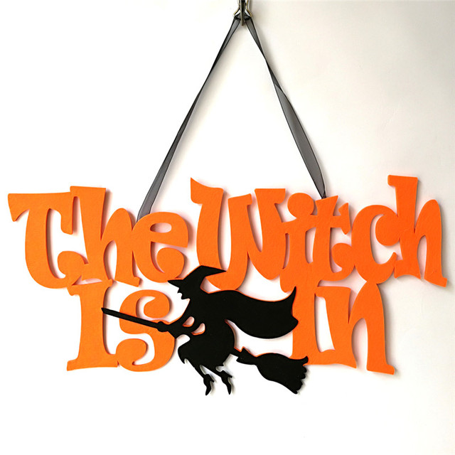 2018 1PCS Halloween Hanging Witch Ghost Spider Hangtag Non-Woven Halloween Window Decoration Halloween Party Hanging Strips