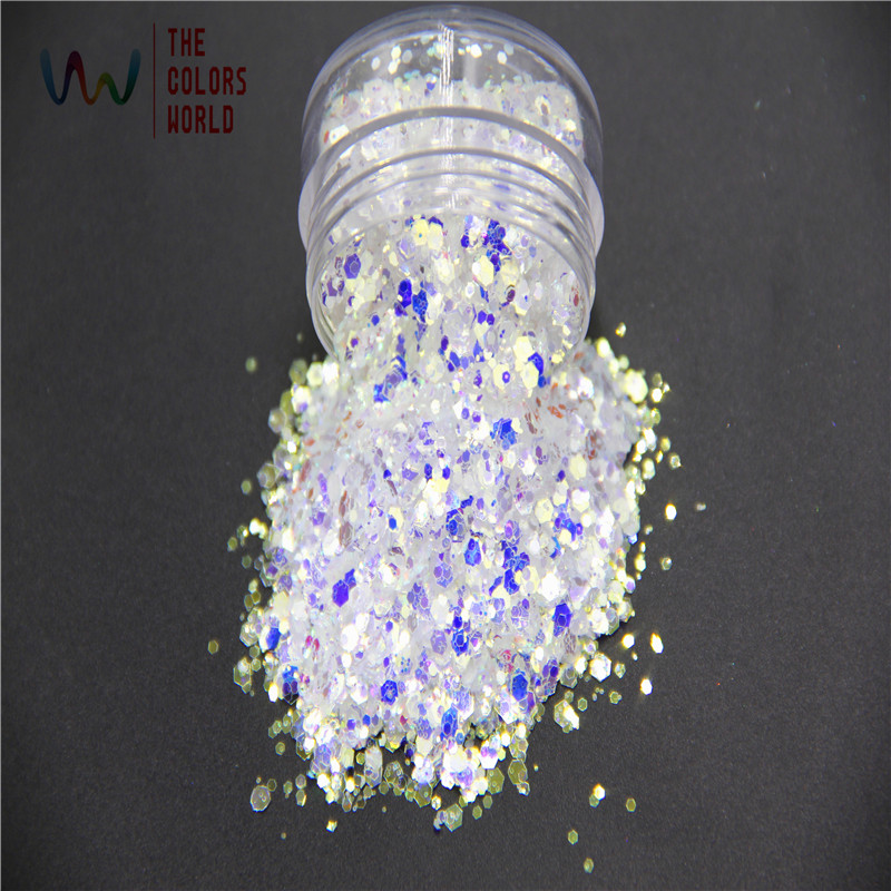 TCR6321B-H1   Very Shinning Iridescent White Colors With Blue And Gold Light  For Nail Art  And DIY Supplies