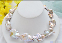 CB113 Beautiful Huge Modern popular AA++ 17 32mm lavender baroque REBORN PEARL NECKLACE