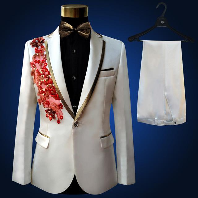 2018 Brand Men Suits Wedding Sequins Tuxedo Prom Groom Compere Male Singer Blazer Slim Fit Black Costume Jacket+Pants+Bowtie