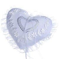 18 cm Raso E Pizzo Bianco Doppio Cuore Strass Cerimonia di nozze Portatore Dell'anello Nuziale Wedding Ring Pillow