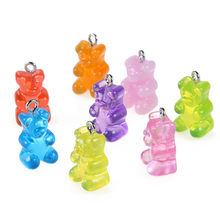 New Design Resin Mixed Color Gummy Bear Pendant Charms For Making Jewelry DIY 10pcs wholesale(China)