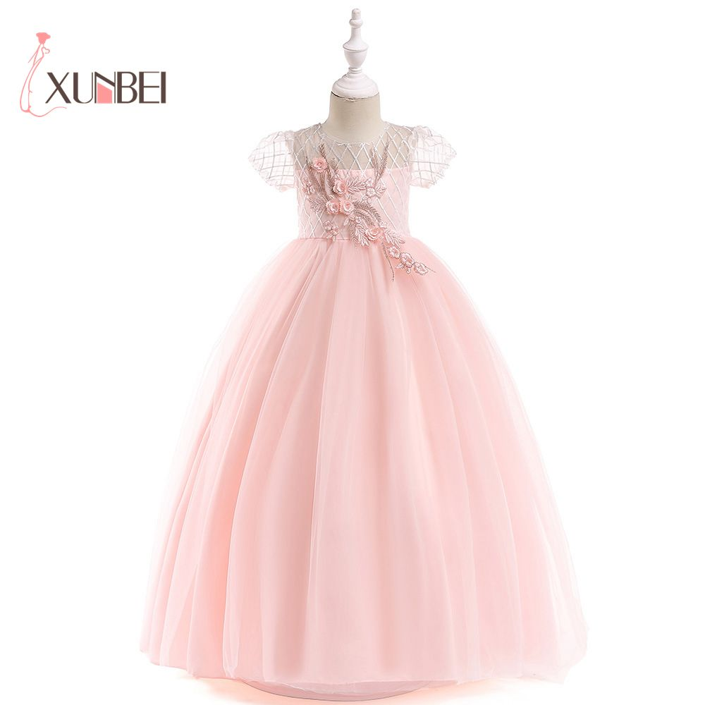New Arrival Princess Short Sleeves Lace   Flower     Girl     Dresses   2019 Pink Appliqued Ball Gowns For   Girls   First Communion   Dresses
