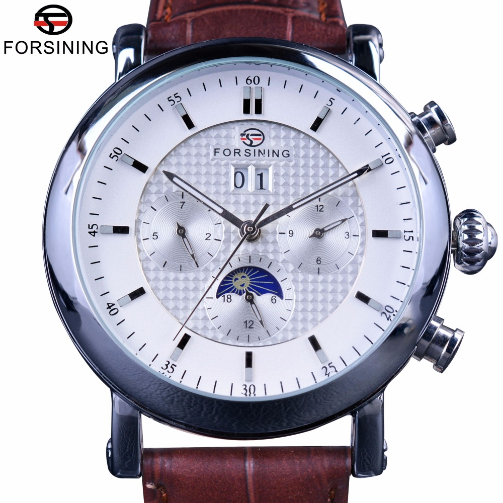 цены Forsining Fashion Tourbillion Design White Dial Moon Phase Calendar Display Mens Watches Top Brand Luxury Automatic Watch Clock