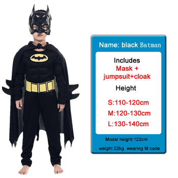 Kids Boys Muscle Batman Costumes With Mask Cloak Movie Character Superhero Cosplay Halloween Masquerade Evening Superman Role Pl 2