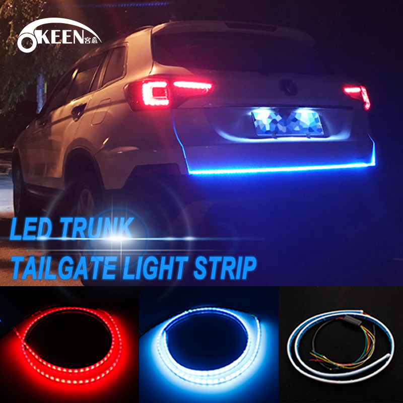 OKEEN car-styling Red and Blue Dynamic Rear Trunk Strip light car tailgate strip led LED Turn Signal Tailgate Trunk lights okeen 1 x120cm yellow red blue white led trunk dynamic led turn signal light strip flexible led drl led tailgate warnning light