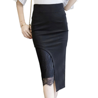 S-5XL Women Office Business Skirts Fashion Slim Sexy Bodycon Pencil Skirt Lace Patchwork Cute Ladies Midi Skirt D0302