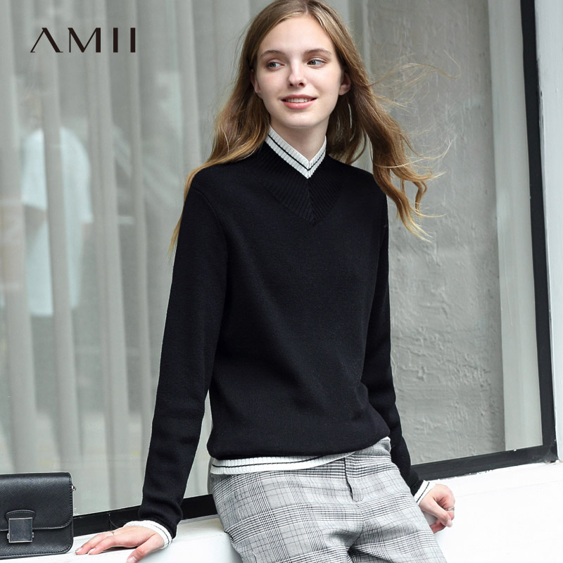 Amii Preppy Style V neck Patchwork Sweater Women Autumn Winter 2019 Causal Wool Solid Vintage Female