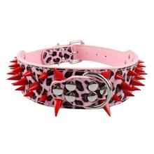 Pitbull Collars For Sale – Black/Red Spiked & Studded Soft Leather Pet Dog Collar