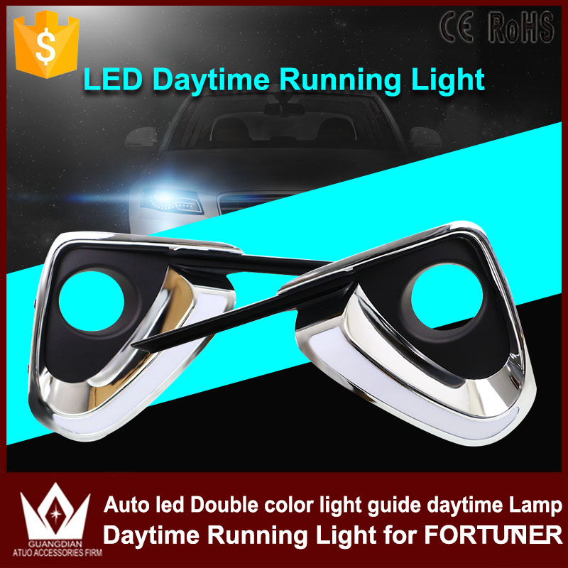 High Quality Car DRL Daytime running lights White+Yellow Auto LED Daylight Yellow Turn Signal For Toyota Fortuner 2015 2016 2017 high quality h3 led 20w led projector high power white car auto drl daytime running lights headlight fog lamp bulb dc12v