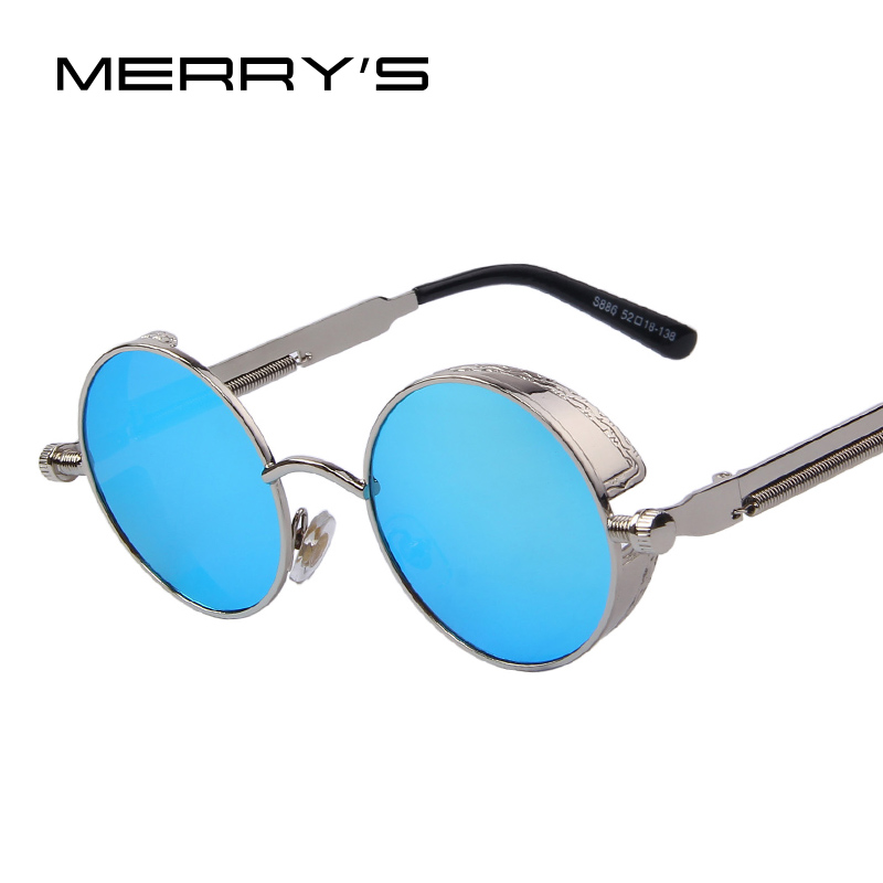 Gothic Steampunk Mens Sunglasses Coating Mirrored Sunglasses Pusingan Circle Sun gelas Retro Vintage Gafas Masculino Sol S'567