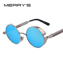 Gothic Steampunk Mens Sunglasses Coating Mirrored Sunglasses Round Circle Sun glasses Retro Vintage Gafas Masculino Sol S'567