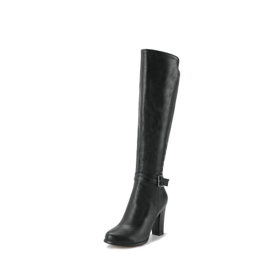 Femme Femmes Chaussures Zip Genou Boucle Noir Bottes Haute Taille 34 2019 D'hiver 43 Bout Talons gris Pu marron Carré Rond Esveva Automne kPuiOXZ