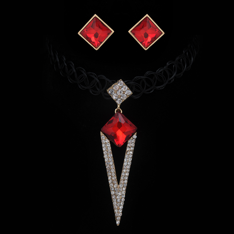 Vintage gothic red gem stone square triangle big pendants necklace vintage gothic red gem stone square triangle big pendants necklace black elastic tattoo choker necklaces for women jewelry gift aloadofball Images
