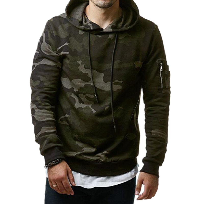 Male Hoodies Camouflage Sweatshirt Slim-Fit Hip-Hop New-Fashion M-3XL Hombre Men Casual