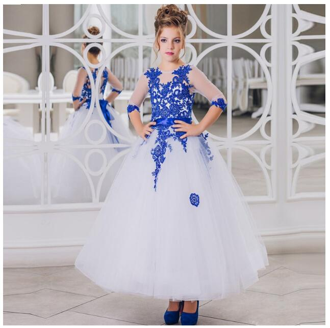 Girls Wedding Formal Dresses 2018  Autumn Lace Bow Gauze Prom Ball Gown Flowers Girls Princess Dress Kids Long Party Dress Blue lace butterfly flowers laser cut white bow wedding invitations printing blank elegant invitation card kit casamento convite
