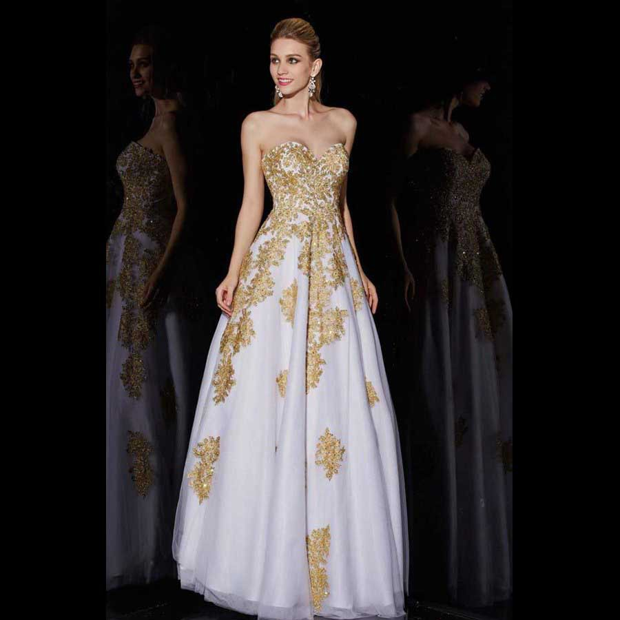 Wedding Gold And White Prom Dresses popular white and gold prom dresses buy cheap latest style special occasion party gowns for maternity applique beaded puffy sexy long gold