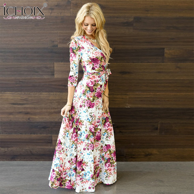 ICHOIX Summer Beach Floral Print Long Floor-Length Dress 2017 Women Loose Casual Plus Size with belt Retro Maxi Dresses Clothing