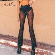 ba18c5ade68 Artsu 여성 바지 섹시한 얇은 메쉬 플레어 넓은 다리 투명 바지를 통해 볼 해변 긴 바지 pantalon femme aspa41186