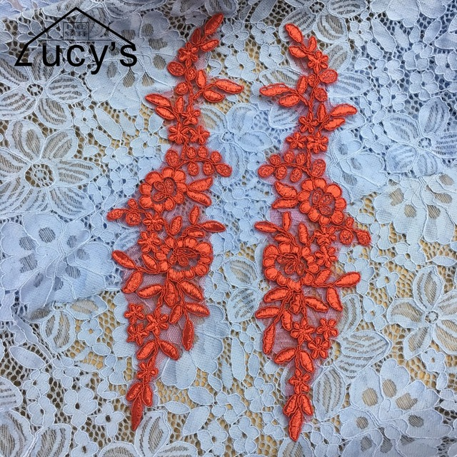 Ivory Pure white Red 3 colors in stock embroidered lace patches flowers  appliques 10 pieces for