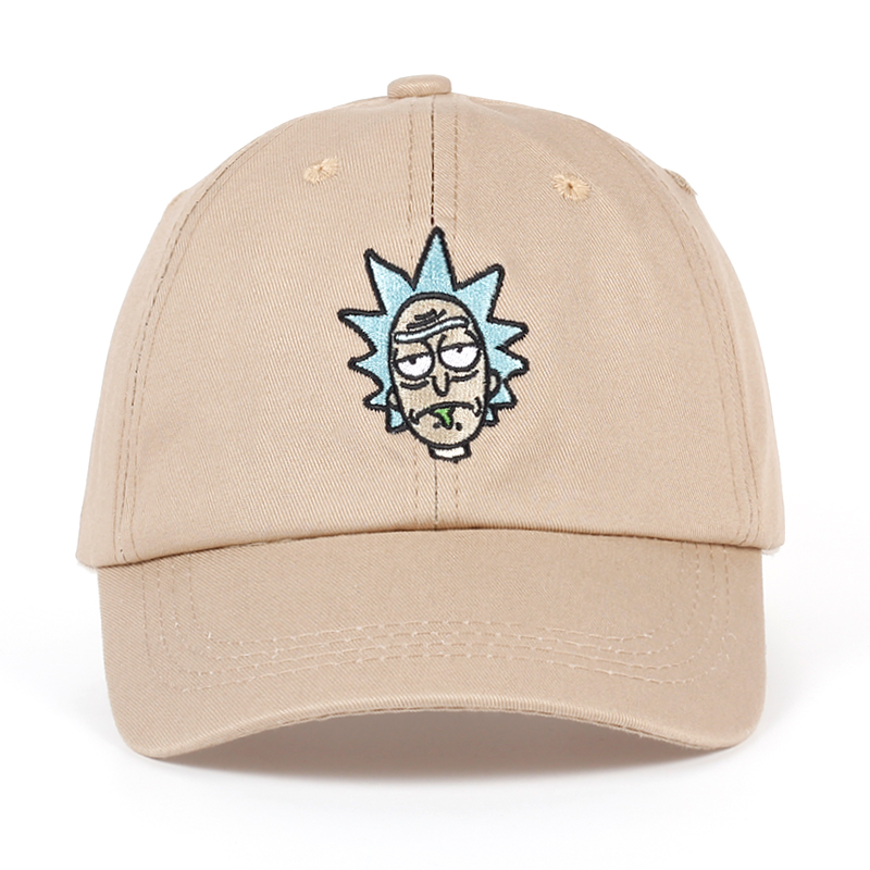Rick and Morty New Khaki Dad Hat Crazy Rick Baseball Cap American Anime Cotton Embroidery Snapback Anime lovers Cap Men Women alfie and dad