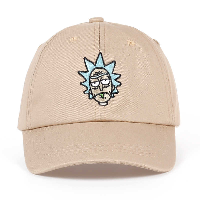 0cc092e87f03b Rick and Morty New Khaki Dad Hat Crazy Rick Baseball Cap American Anime  Cotton Embroidery Snapback