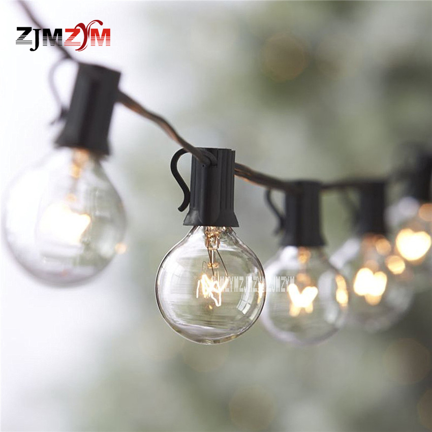 40 strings/lot New Outdoor Decoration String Lights Festive Tungsten Filament String E12 Classic Retro G40 Lamp String 220v/110v