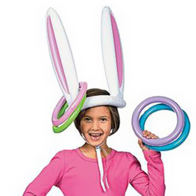 Cute Inflatable Balloon Bunny Rabbit Ears Hat with Rings Holiday Party Toss Game Easter Parade Dress Up Toys party Hat Props Fun