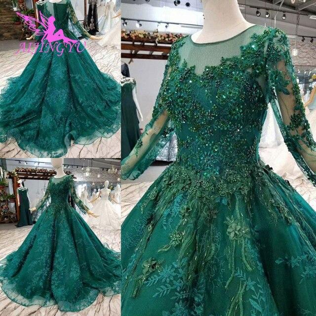 Aijingyu vestidos de luxo com jóias loja vestidos para casamento muçulmano federação russa plain mais noivado vestido de casamento taiwan