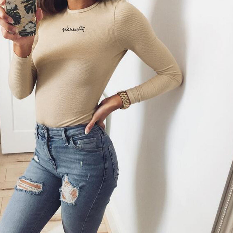 2018 New Women Slim Fitted Letter Print Jumpsuit Romper Long Sleeve Bodysuits Skinny Spring Autumn Striped Playsuits