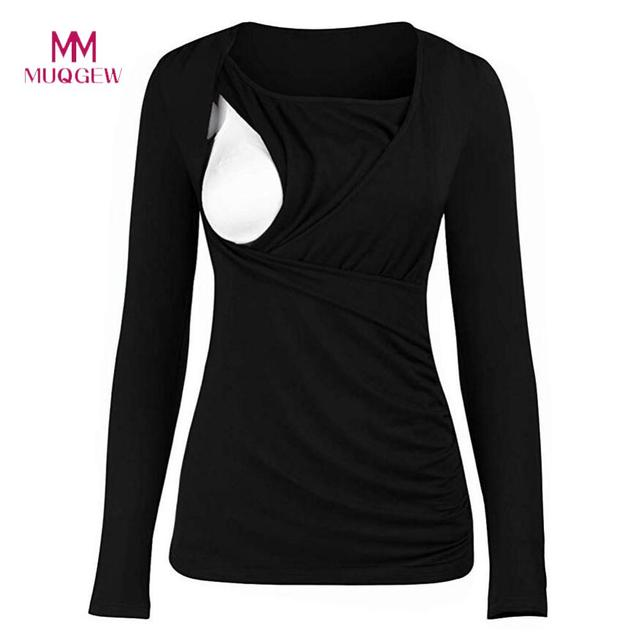 15e79f02bfd MUQGEW 2019 Maternity Clothes Women Mom Pregnant Nursing Baby Maternity  Long Sleeved Solid Tops Blouse Clothes Plus Size XXL