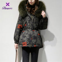 Parker Camouflage Down Jacket Winter Coat Women New Thicken Korean Casual Loose Scorpion Big Fur Collar Warm Outerwear LQ399(China)