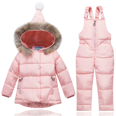 Winter Suits for Boys Girls 2017 Boys Ski Suit Children Clothing Set Baby Duck Down Jacket Coat + Overalls Warm Kids Snowsuit 2017 children wool fur coat winter warm natural 100% wool long stlye solid suit collar clothing for boys girls full jacket t021