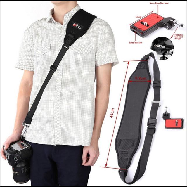 Foleto 포커스 F 2 카메라 스트랩 캐논 니콘 소니 펜탁스 DSLR 카메라에 대한 F2 플레이트와 빠른 빠른 싱글 어깨 블랙 벨트 스트랩